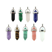 9 Piece Crystal Hexagonal Healing Point Pendant Chakra Cut Gemstone Pendant