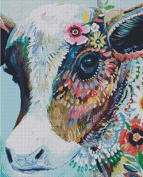 Colourful Cow cross stitch kits, 14ct, Egyptian cotton thread 180x240 stitch, 43x54cm cross stitch kits