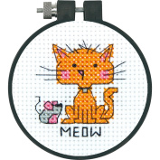 Learn-A-Craft Meow Counted Cross Stitch Kit-7.6cm Round 11 Count