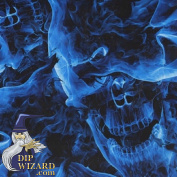 Hydrographic Film Blue Flaming Skulls Flames Fire Water Transfer Hydro Dipping