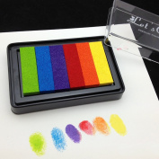 Miucashop Multicolor Rainbow DIY Ink Pad Set-Rubber Stamps Craft Ink Pad for Paper Fabric Wood