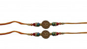 Set of Two Rakhi, Om Design Rakhi thread, Raksha bandhan Gift for your Brother, Orange and Yellow Colour Thread. Colour Vary and Multi Design