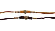 Set of Two Rakhi, Stone & Moti, Thread. Rakhi, Raksha Bandhan Gift for your Brother, Maroon & Yellow Colour Thread.