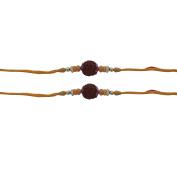 Set of Two Rudraksha Rakhi Thread. Raksha bandhan Gift for your Brother, Orange and Yellow Colour