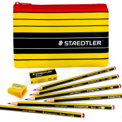 Staedtler - Noris 120 - Black and Yellow Set - Graphite Pencils, Eraser, Sharpener, and Pencil Case