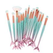 Makeup Brushes,ABCsell 15 Pcs Mermaid Foundation Eyeshadow Brushes Contour Eye Lip Makeup Brushes Set