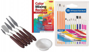 Colour Mixing Recipes for Painting Trowels art supply starter kit Artist Palette Knife tool Kit / Paint Brush Set + Water Cup
