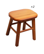 WUFENG Portable Natural Bamboo Wood Oval Stool ,Wine Red ,23 * 21 * 25CM