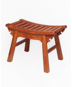 WUFENG Portable Antique Rosewood Arc Stool,Artificial Carving Bench,L39 * W21 * H28CM