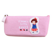 Cute Candy Colour Cartoon Girls Style Pen Bag Canvas Zippered Pencil Cases For Kids Adults
