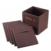 6 Pcs Foldable Home Cube Bin with Handles Basket Drawer Storage Box Household Closet Organiser Fabric Collapsible Container Choose Your Colour 10.1550cm