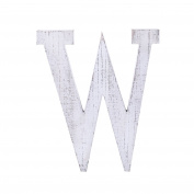 "Adeco Wooden Hanging Wall Letters ""W"" - White Decorative Wall Letter of Living Room, Baby Name and Bedroom Décor, Whitewash"