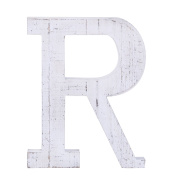 "Adeco Wooden Hanging Wall Letters ""R"" - White Decorative Wall Letter of Living Room, Baby Name and Bedroom Décor, Whitewash"