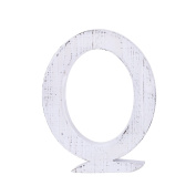 "Adeco Wooden Hanging Wall Letters ""Q"" - White Decorative Wall Letter of Living Room, Baby Name and Bedroom Décor, Whitewash"