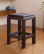 WUFENG Portable Cube Paulownia Wood Stool With Rattan And Wood Double-sided Detachable Seat Surface,dark Brown