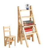 WUFENG Solid Wood Stairs Chair Ladder Chair Home Fold Climb Up Wooden Utility Step Ladder Stool Multifunction Creative Dual Use Step stool in Wood
