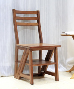 WUFENG Solid Wood Stairs Chair Home Ladder Chair Fold Climb Up Ladder Stool Multifunction Creative Dual Use Chair Ladder Bamboo