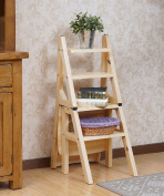 WUFENG Multifunction Chair Ladder Nordic Creative Foldable Solid Wood Chair Ladders Step Stool