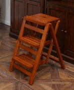 WUFENG Multifunction Chair Ladder Nordic Creative Foldable Multilayer Solid Wood Chair Ladders Step Stool
