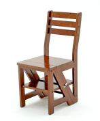 WUFENG Foldable Chair Ladder Nordic Creative Multifunction Solid Wood Chair Ladders Step Stool