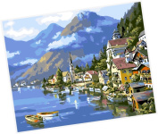 Wowdecor Paint by Numbers Kits for Adults Kids, Number Painting - Seaside Town 41cm x 50cm