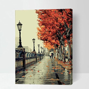 Diy oil painting, paint by number kit- Romantic love autumn 4110cm gift for Kids & Child
