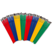 Crenstone Paint Brushes Classroom Bulk Set -- Pack of 48 Paint Brushes for Kids Toddlers