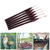 Painting Brush Set, 6pcs Wooden Handle Pointed Tip Nylon Hair Artist Detail Brushes Outline for Watercolour Oil Acrylic Painting