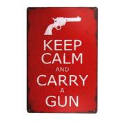 DL-Keep Calm and Carry a Gun vintage Metal Sign home decor tin art decor drip tray house wall art