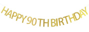 Happy 90th Birthday Banner Gold Glitter Party Bunting - 90th Birthday Party Decorations Supplies
