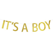 It's A Boy Gold Glitter Banner ,Pregnancy announcement ,Gender Reveal Party , Baby Shower Decorations for Boy