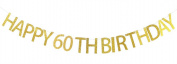 Happy 60th Birthday Banner Gold Glitter Party Bunting - 60th Birthday Party Decorations Supplies
