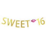 Sweet 16 Gold Glitter Banner ,Sixteen 16th Birthday Party Decorations