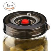 6-Pack Fermenting Lids Kit w/ Bonus Pump, galahome Waterless Airlock For Mason Jar Fermentation, Turn Wide Mouth Jars to Crock Pots, Black