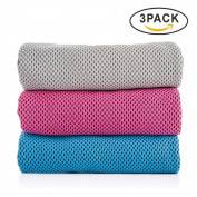 OUO Cooling Towel (3 pack) Sport Towel 100cm x 30cm Snap Cool Towel Multi-purpose Super Soft Breathable Travel Towel Outdoor Towel Yoga Towel Gym Towel