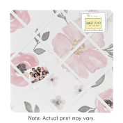 Blush Pink, Grey and White Fabric Memory Memo Photo Bulletin Board for Watercolour Floral Collection by Sweet Jojo Designs