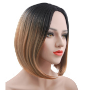 eNilecor Brown Bob Wigs, 30cm Ombre Wig Short Straight Wig Heat Resistant Synthetic Cosplay Daily Party Wig for Women with Free Wig Cap (Black/Brown)
