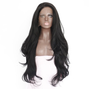 eNilecor Natural Black Lace Front Wig Long Curly Synthetic Wigs for Black Women with Free Wig Cap and Comb