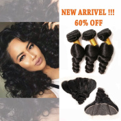 Loose Wave Brazilian Hair 3 Bundles Unprocessed Remy Hair Extensions with 13x4 Free Part Full Lace Frontal with Baby Hair for African American Women Natural Colour 18 20 22+14 Frontal