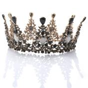 Bridalvenus Wedding Crown and Tiara Flower Bridal Princess Queen Crown Baroque Vintage Rhinestone Headband for Bride and Bridesmaid Black
