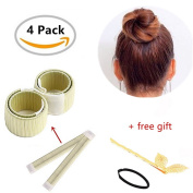 Hair Bun Shapers 2 Pcs Modern Hair Styling Maker with 1 Hair Pin and 1 Hair Ties,Beauty Crown and Donut Hair Style Tools by Biglion(