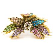 woman metal rhinestone Crystal Maple Leaf Hair Claw Clip bridal hair clip by beautyxyz