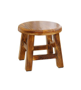 ZEMIN Household Solid Wooden Adult Small Square Round Stool Anticorrosive, 2 Colours, 2 Sizes Available