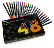 48 Dual tip watercolour art marker pens for kids and adult colouring books. Teacher supplies, set of double sided art pens, art supplies, back to school supplies. 48 colour office stationery pen set.