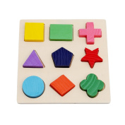 HS Baby Kids Wooden Preschool Shape Puzzle Geometry Block Puzzle Montessori Toy