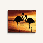 MADE4U [ Flamingo Series 4 ] [ 50cm ] [ Wood Framed ] Paint By Numbers Kit with Brushes and Paints