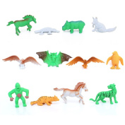 LU2000 Animals Figure, 12 Pcs Mini Animals Toys Set, Zoo World Realistic Wild Soft Plastic Animal Learning Resource Toys for Boys Kids Toddlers Forest Small Animals Toys Playset