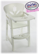 Matty's Toy Stop 46cm White Wooden Doll High Chair with Lift-Up Tray & Floral Design