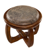 ZEMIN Solid Wooden Small Round Stool Soft Surface Household, 2 Colour Available, 36.5*31.5CM