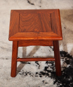 ZEMIN Household Solid Wooden Adult Small Square Stool Anticorrosive, Reddish Brown